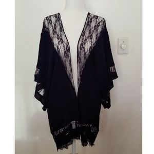 Anthropologie Black Lace Shawl